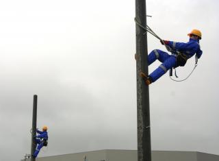 昇柱訓練用の電柱を建柱